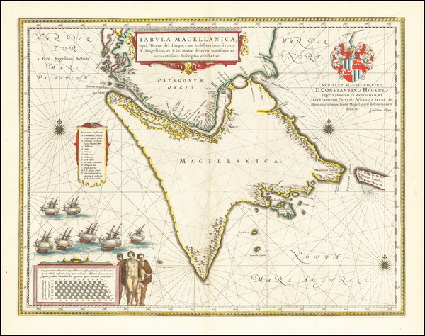 49-Polar Maps, Argentina and Chile Map By Willem Janszoon Blaeu