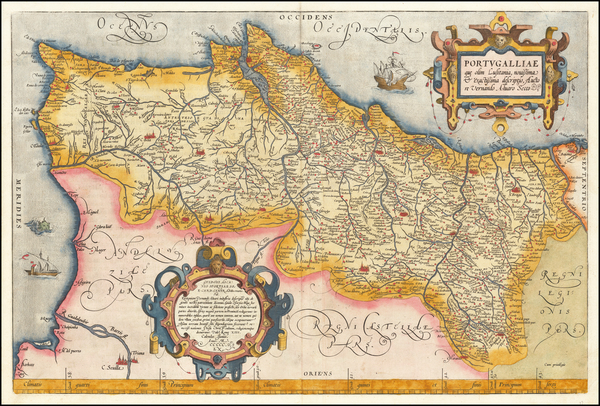 88-Portugal Map By Abraham Ortelius