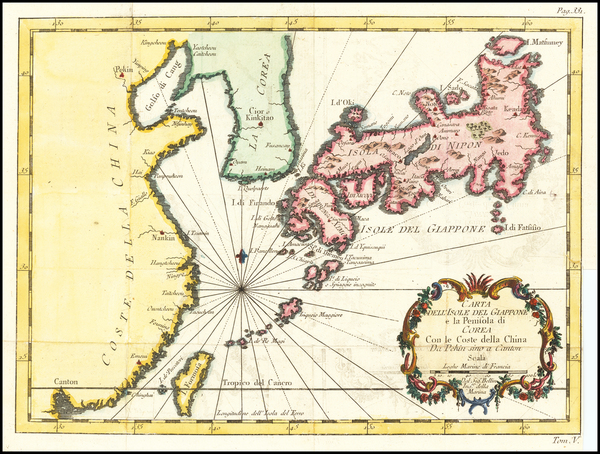 48-China, Japan and Korea Map By Jacques Nicolas Bellin