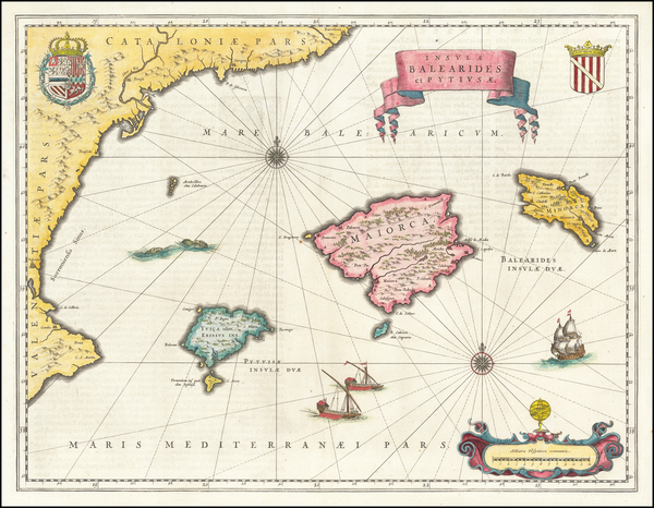 16-Spain and Balearic Islands Map By Willem Janszoon Blaeu