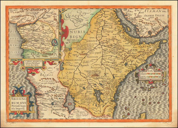 59-Africa, East Africa and West Africa Map By Jodocus Hondius