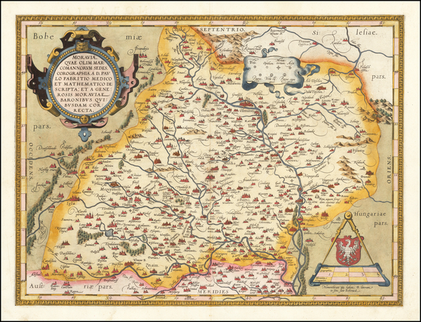 Poland and Czech Republic & Slovakia Map By Abraham Ortelius