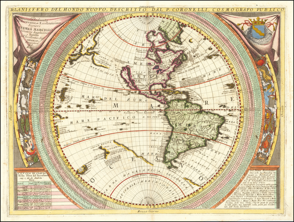 90-Western Hemisphere, Pacific and America Map By Vincenzo Maria Coronelli
