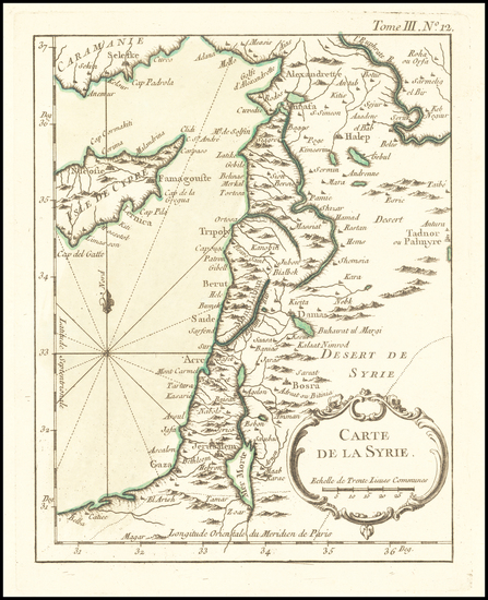 75-Mediterranean and Holy Land Map By Jacques Nicolas Bellin