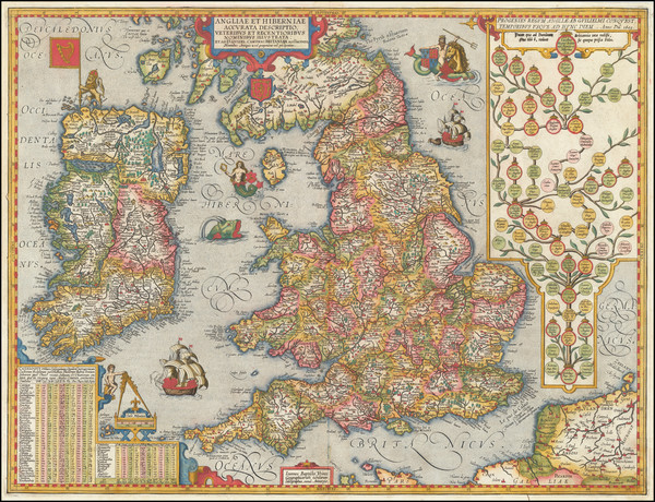 British Isles Map By Abraham Ortelius / Johannes Baptista Vrients