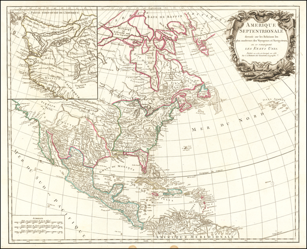 61-United States and North America Map By Gilles Robert de Vaugondy