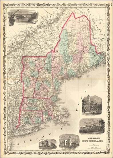 78-New England, Maine, Massachusetts, New Hampshire, Rhode Island and Vermont Map By Alvin Jewett