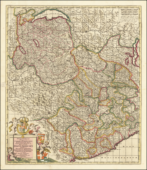 Switzerland, France and Northern Italy Map By Frederick De Wit / John Overton