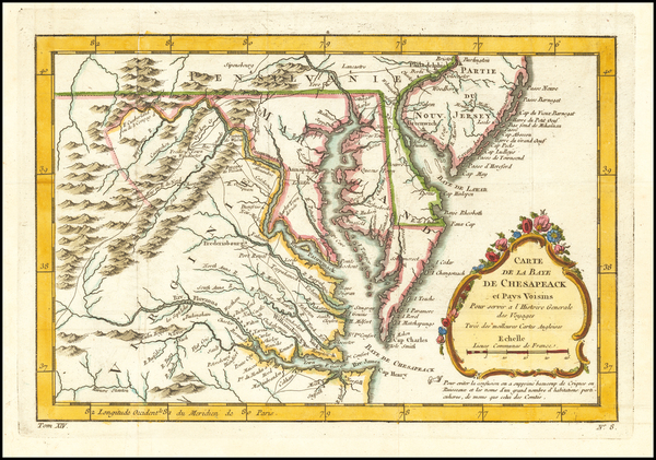 40-Maryland, Southeast and Virginia Map By Jacques Nicolas Bellin