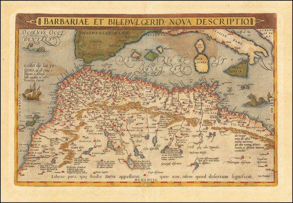 60-North Africa Map By Abraham Ortelius