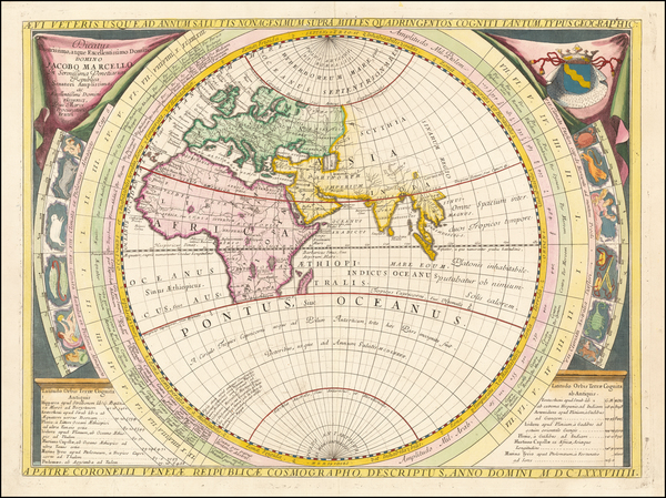 59-World and Eastern Hemisphere Map By Vincenzo Maria Coronelli