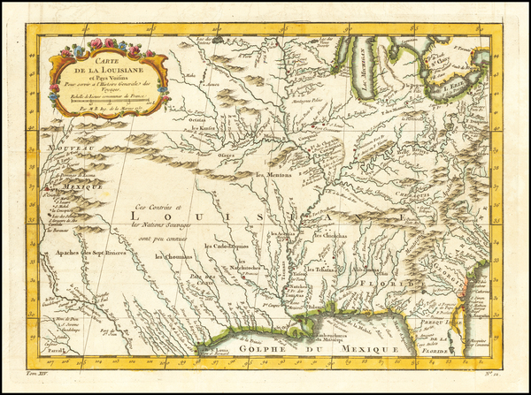 54-South, Southeast, Midwest and Southwest Map By Jacques Nicolas Bellin