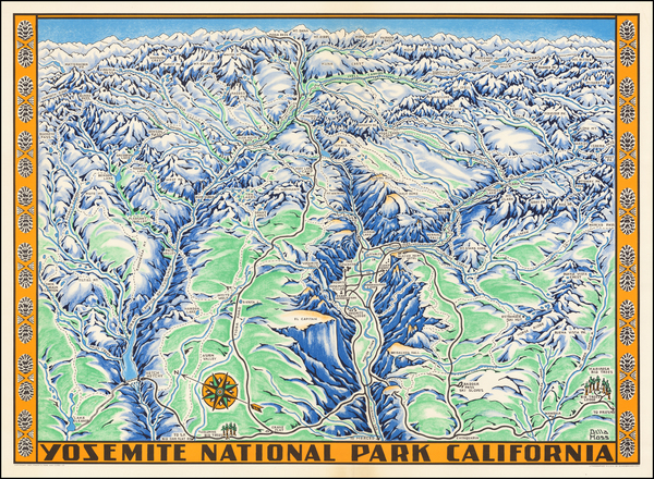70-Pictorial Maps, California and Yosemite Map By Schwabacher-Frey Co.