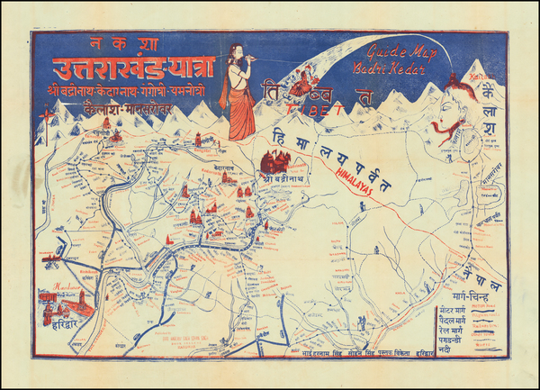 India and Pictorial Maps Map By Bhai Harnam Singh Sohan Singh