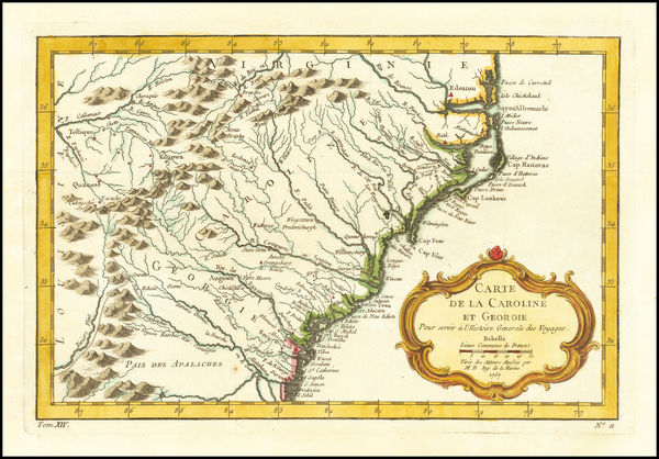 9-Southeast, Georgia, North Carolina and South Carolina Map By Jacques Nicolas Bellin