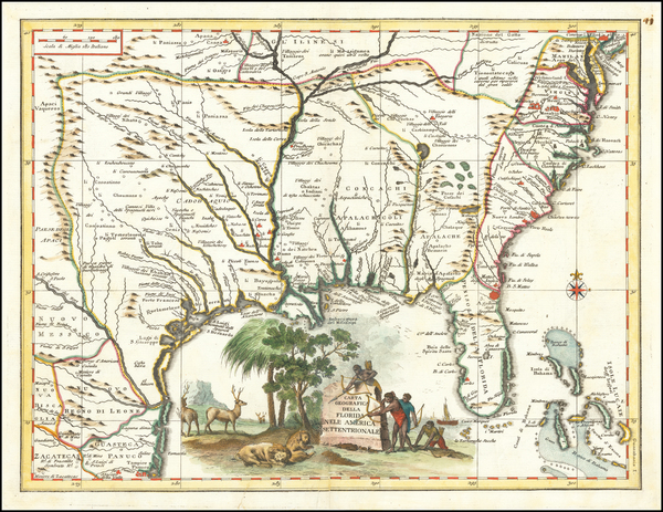 51-Florida, South, Southeast and Texas Map By Giambattista Albrizzi