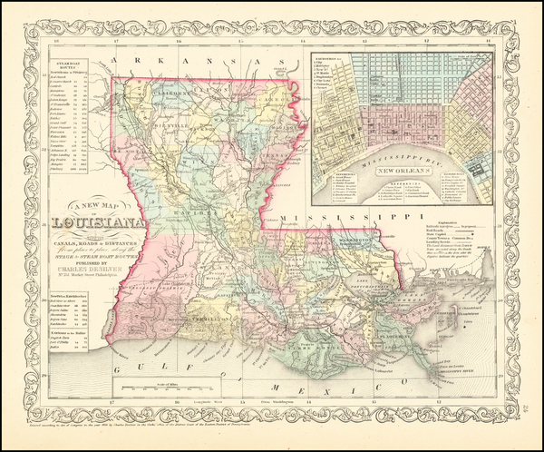 13-Louisiana and New Orleans Map By Charles Desilver