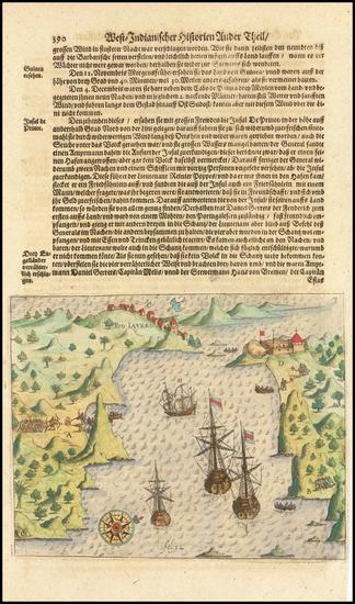 71-Brazil Map By Theodor De Bry / Matthaeus Merian