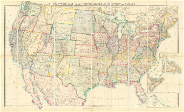 United States Map By Edward Stanford