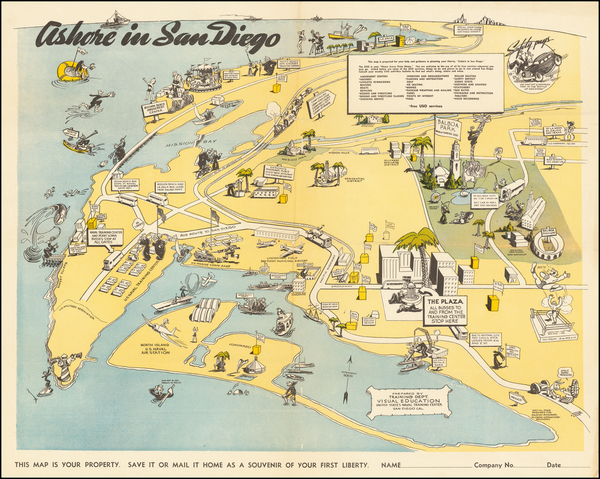 3-Pictorial Maps, California and San Diego Map By United States Naval Training Center