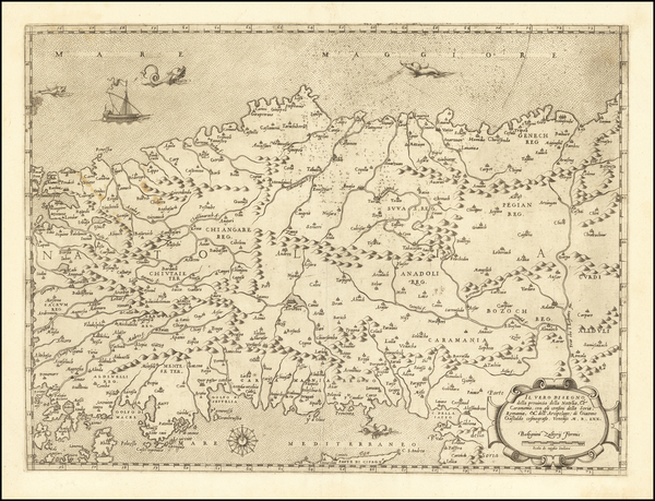 100-Turkey, Cyprus, Middle East and Turkey & Asia Minor Map By Giacomo Gastaldi / Bolognini Zal