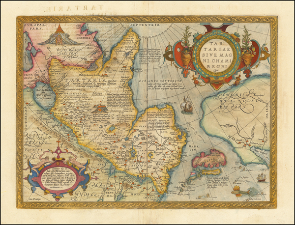 35-Pacific Northwest, Alaska, China, Japan, Russia in Asia and California Map By Abraham Ortelius