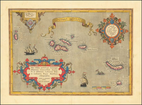 85-Atlantic Ocean and Portugal Map By Abraham Ortelius