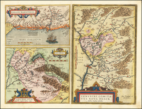 64-Switzerland and France Map By Abraham Ortelius