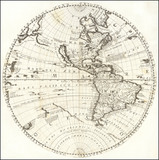 85-Western Hemisphere, Pacific, California as an Island and America Map By Vincenzo Maria Coronell
