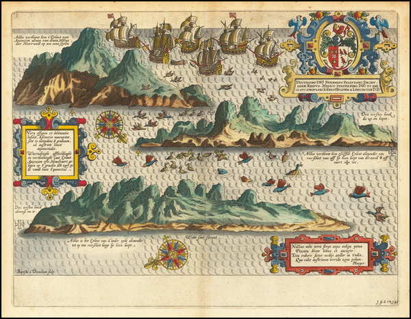1-Atlantic Ocean and African Islands, including Madagascar Map By Jan Huygen Van Linschoten