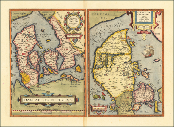 Germany and Denmark Map By Abraham Ortelius