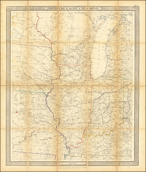Kentucky, Midwest, Illinois, Indiana, Michigan, Wisconsin, Iowa and Missouri Map By Edward Stanford