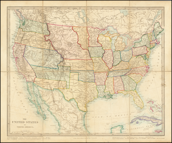 38-United States Map By Edward Stanford