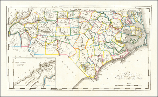 North Carolina Map By Mathew Carey