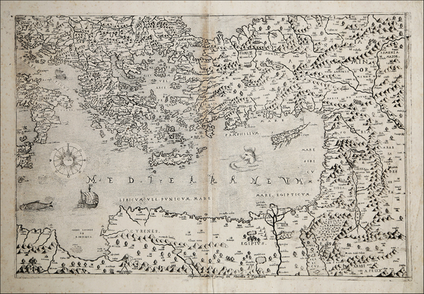 Greece, Turkey, Mediterranean, Cyprus, Holy Land and Turkey & Asia Minor Map By Stefano Scolari