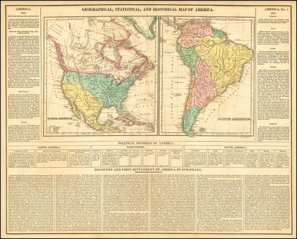 1-North America, South America and America Map By Henry Charles Carey  &  Isaac Lea