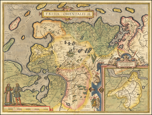 83-Netherlands and Germany Map By Abraham Ortelius