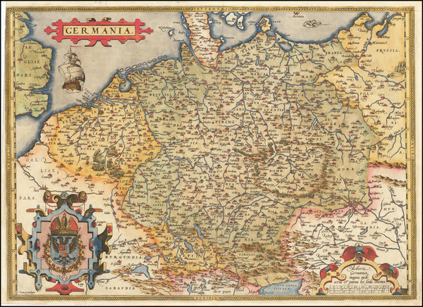 51-Netherlands, Germany, Poland and Baltic Countries Map By Abraham Ortelius