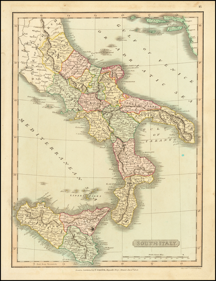 83-Italy, Southern Italy and Sicily Map By Charles Smith