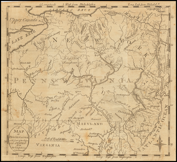 8-New York State, New Jersey, Pennsylvania and Maryland Map By Jedidiah Morse
