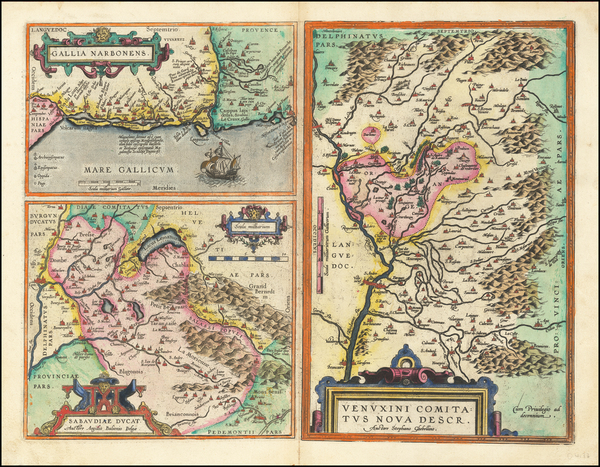 24-Switzerland and France Map By Abraham Ortelius