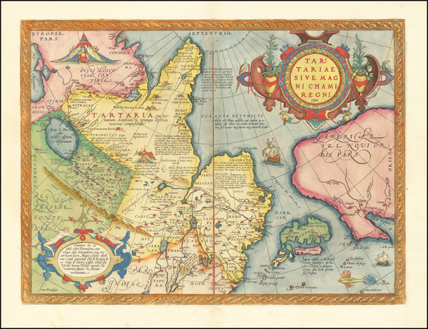 91-Pacific Northwest, Alaska, China, Japan, Russia in Asia and California Map By Abraham Ortelius