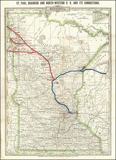 17-Minnesota Map By George F. Cram / Henry S. Stebbins