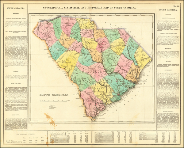 61-South Carolina Map By Henry Charles Carey  &  Isaac Lea