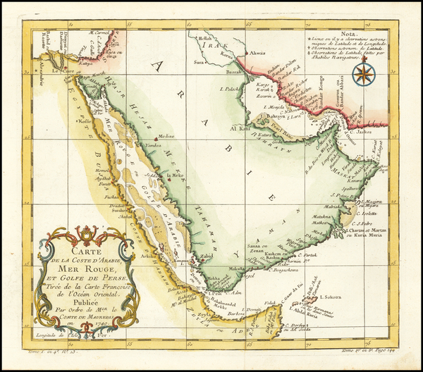 90-Middle East and Arabian Peninsula Map By Jacques Nicolas Bellin