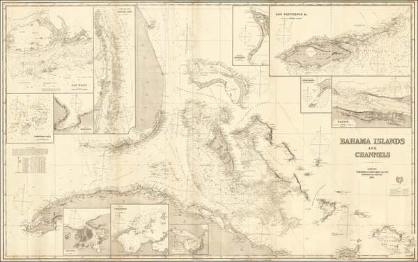 24-Florida, Caribbean and Bahamas Map By James Imray & Son