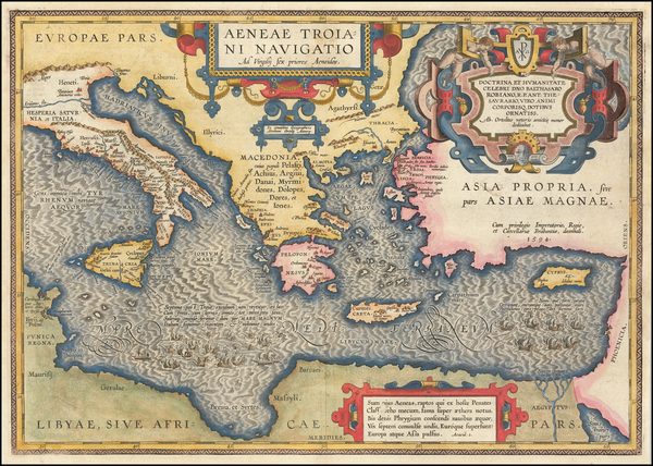 24-Greece, Turkey, Mediterranean and Turkey & Asia Minor Map By Abraham Ortelius