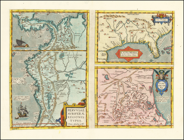 74-Florida, South and Southeast Map By Abraham Ortelius