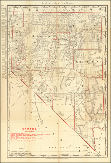Nevada Map By William Rand  &  Andrew McNally