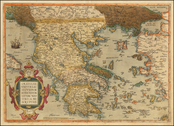 23-Greece Map By Abraham Ortelius